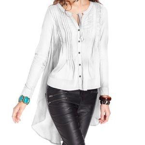 Free People High Low Button Up Blouse Tunic